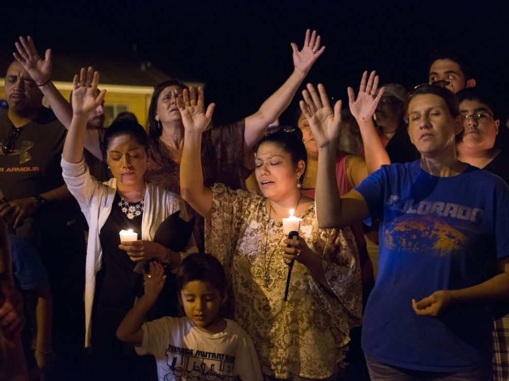 PHOTO: A candlelight vigil is observed on Nov. 5, 2017, following the mass shooting at the First Baptist Church in Sutherland Springs, Texas.