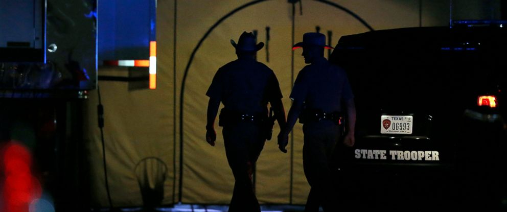 PHOTO: Law enforcement officials work at scene of a shooting at the First Baptist Church of Sutherland Springs, Texas, Nov. 5, 2017.