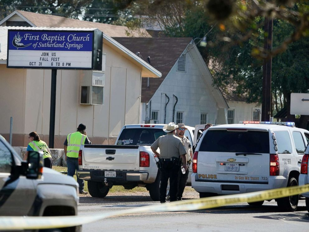 PHOTO: Law enforcement officers gather in front of the First Baptist Church of Sutherland Springs after a fatal shooting, Nov. 5, 2017, in Sutherland Springs, Texas.