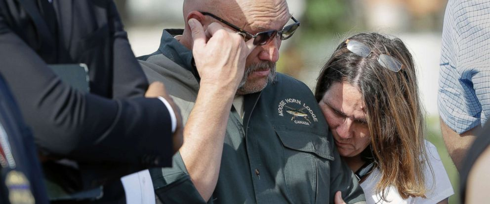 PHOTO: Pastor Frank Pomeroy and his wife Sherri join a news conference near the First Baptist Church of Sutherland Springs, Nov. 6, 2017, in Sutherland Springs, Texas. Their daughter, Annabelle, 14, was killed in the shooting.