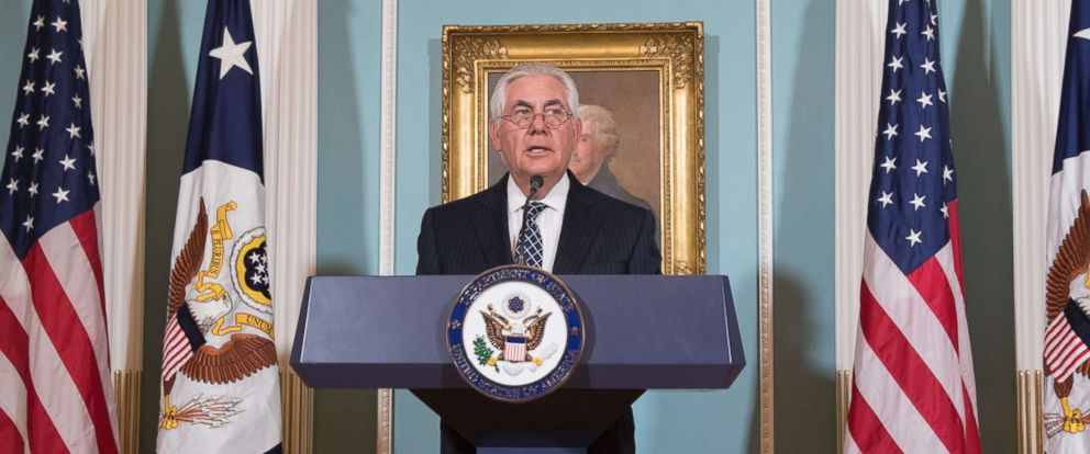 PHOTO: Secretary of State Rex Tillerson delivers remarks at the release of the 2016 International Religious Freedom Annual report, at the State Department in Washington, Aug. 15, 2017.