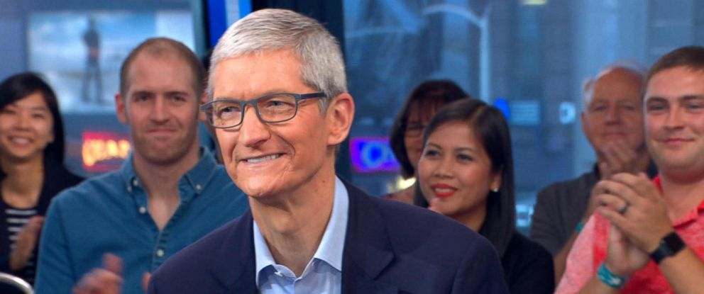 """PHOTO: Apple CEO Tim Cook appears on """"Good Morning America"""" in New York City, Sept. 19, 2017."""