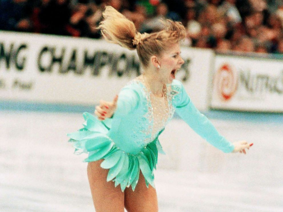 PHOTO: A jubilant Tonya Harding is acknowledged by the crowd as she comes out of her successful triple axel on her way to winning the U.S. Figure Skating Championships, Feb. 16, 1991, in Minneapolis.