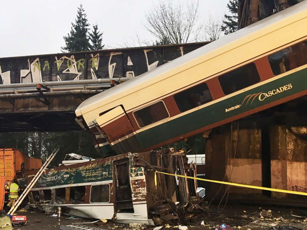 PHOTO: Emergency crews respond to the scene of a train derailment in Washington State, Dec. 18, 2017.
