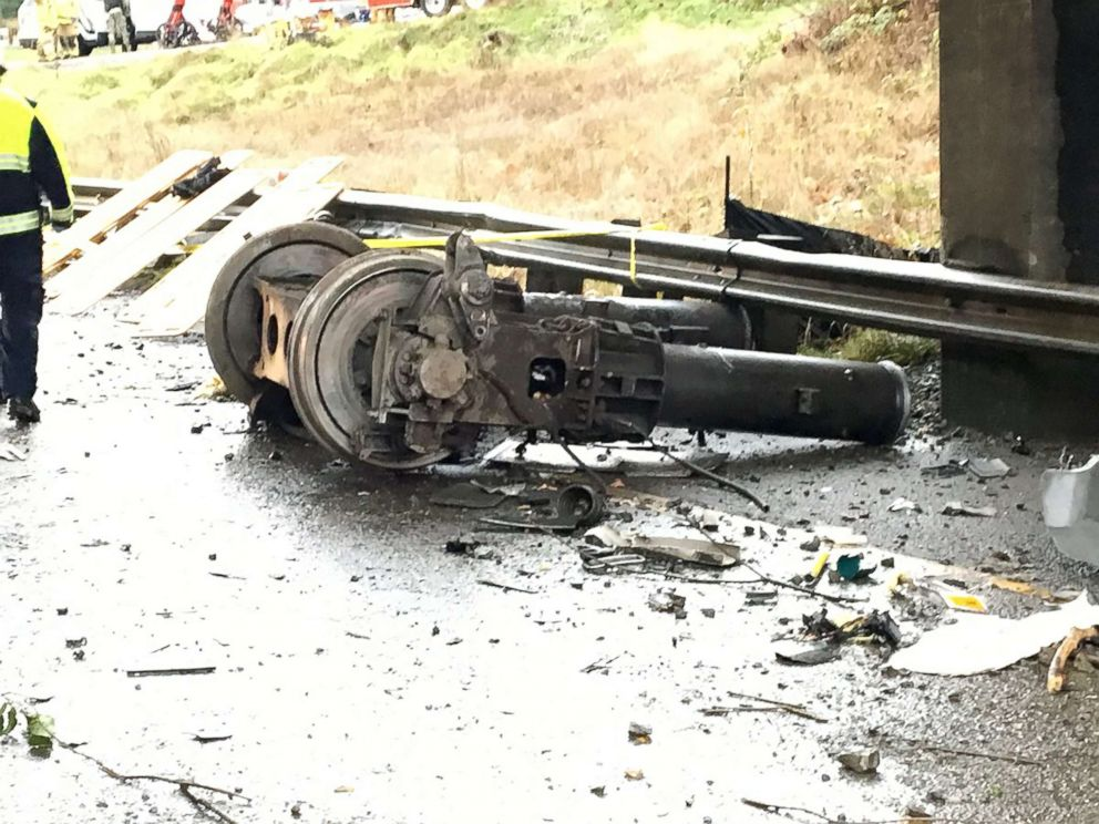PHOTO: Wreckage lies at the scene of a trail derailment in Washington State, Dec. 18, 2017.