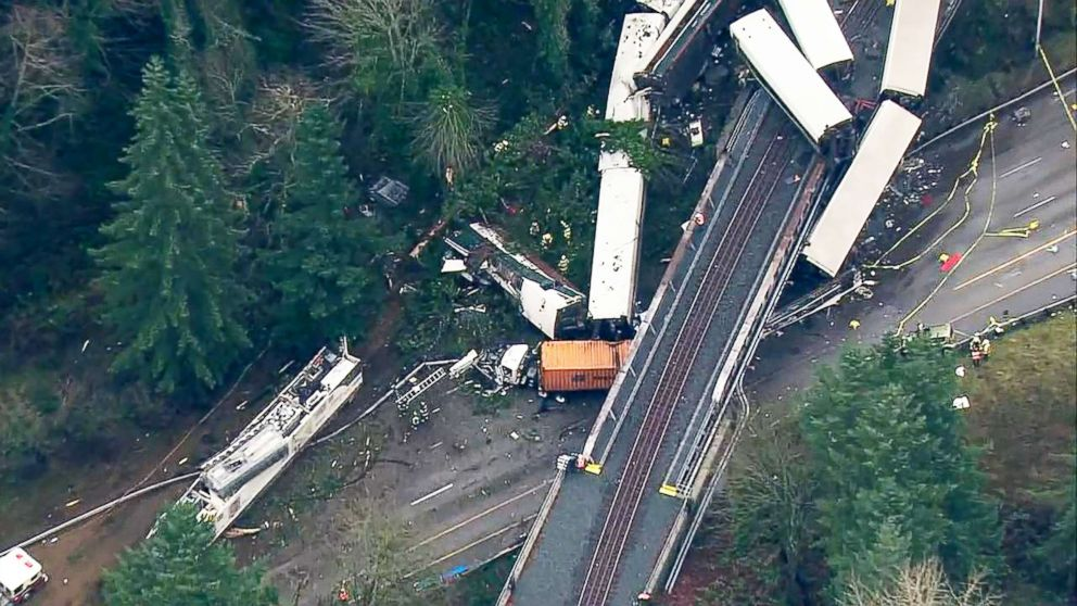 PHOTO: An aerial shot captures the wreckage of a train derailment in Washington state, Dec.18, 2017.
