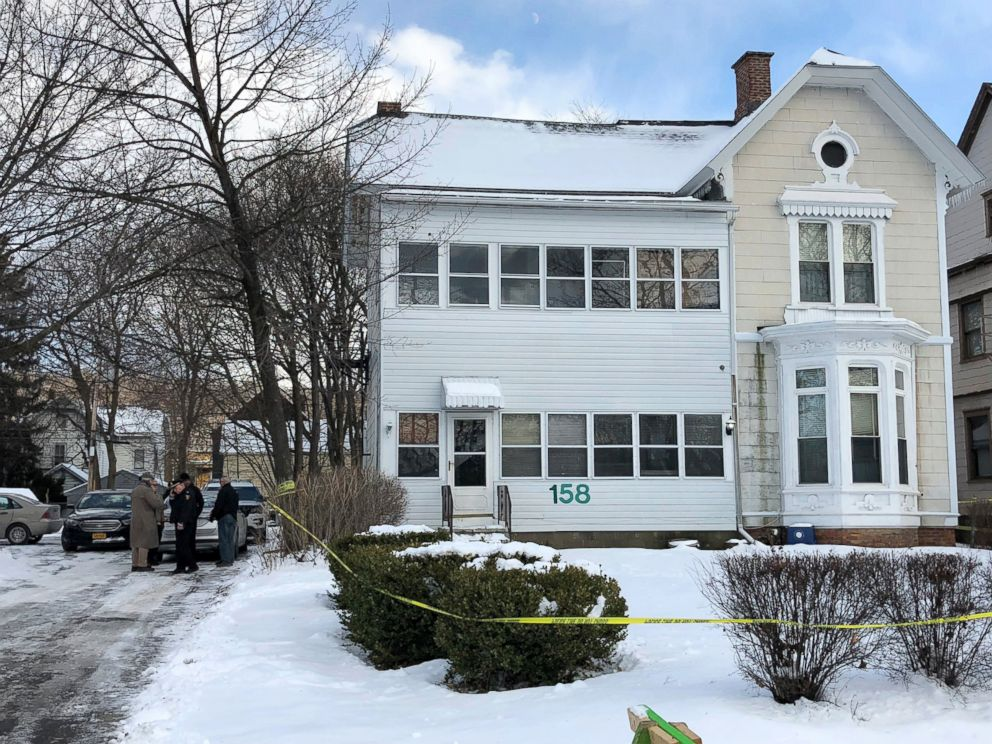 PHOTO: Police secure the perimeter of a home in Troy, N.Y., Dec. 26, 2017, after four bodies were discovered in a basement apartment. Troy police say the deaths are being treated as suspicious.
