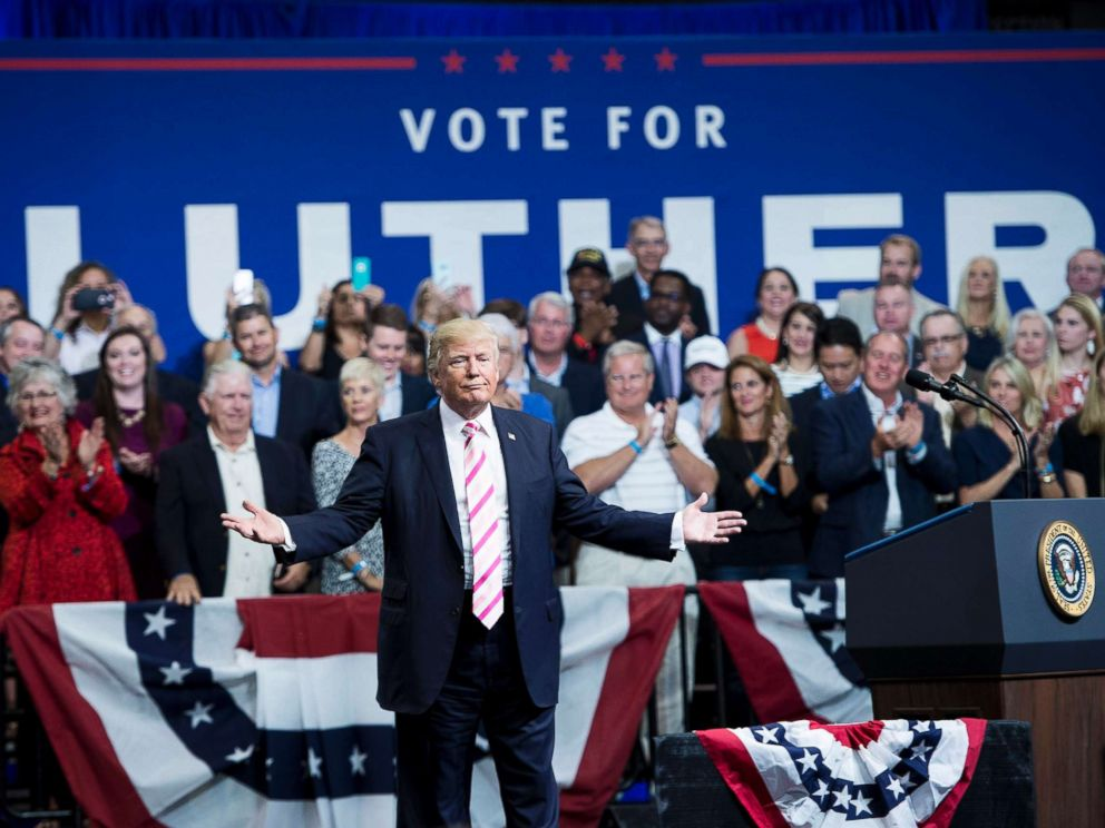 PHOTO: President Donald Trump gestures while speaking during rally for Alabama state Republican Senator Luther Strange at the Von Braun Civic Center, Sept. 22, 2017 in Huntsville, Ala.