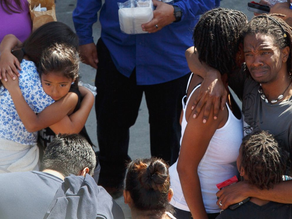 PHOTO: Students from North Park Elementary School are reunited with family at Cajon High School in San Bernardino, Calif., April 10, 2017.