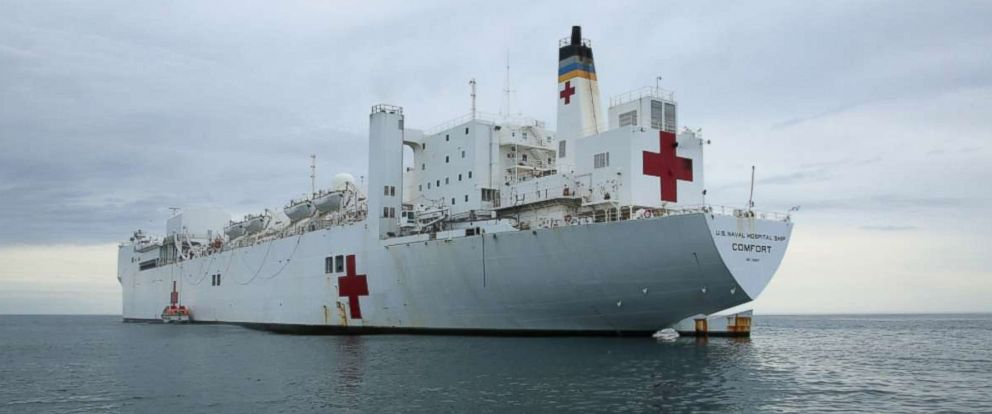 PHOTO: The Military Sealift Command hospital ship USNS Comfort (T-AH 20) lowers its tender in the Atlantic Ocean, Feb. 23, 2017.
