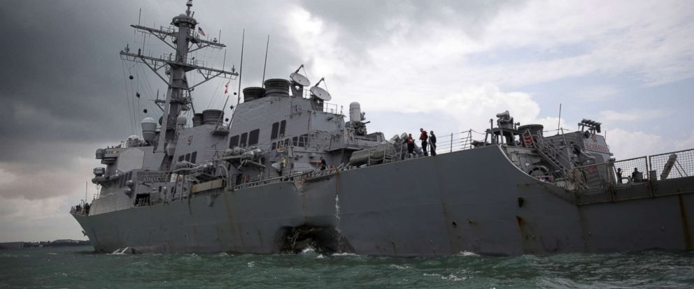 PHOTO: The USS John S. McCain is seen after a collision in Singapore, Aug. 21, 2017.