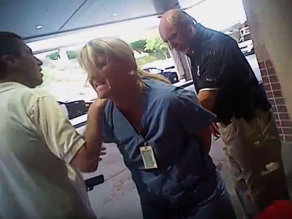 PHOTO: In this July 26, 2017, frame grab from video taken from a police body camera and provided by attorney Karra Porter, nurse Alex Wubbels is arrested by a Salt Lake City police officer at University Hospital in Salt Lake City.