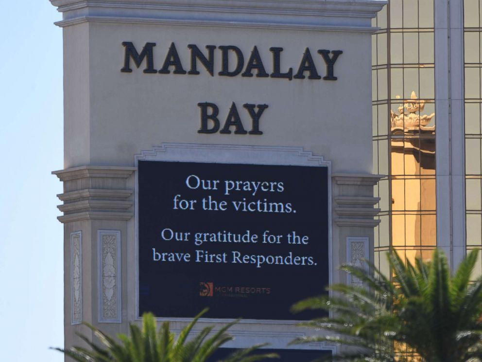 PHOTO: A sign outside the Mandalay Hotel is seen, Oct. 2, 2017, after a gunman killed more than 50 people and wounded more than 200 others when he opened fire on a country music festival in Las Vegas.