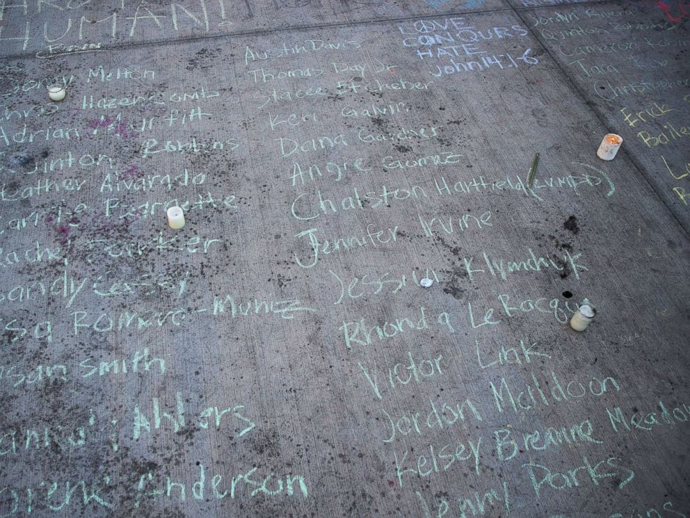 PHOTO: The names of victims are written in chalk on the pavement at a makeshift memorial at the northern end of the Last Vegas Strip, Oct. 4, 2017, in Las Vegas.