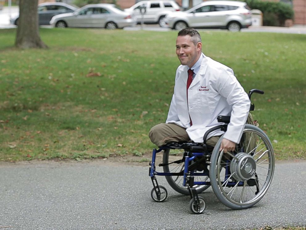 PHOTO: Greg Galeazzi is training to become a doctor at Harvard Medical School after a 2011 roadside bomb in Afghanistan tore off both his legs and much of his right arm.