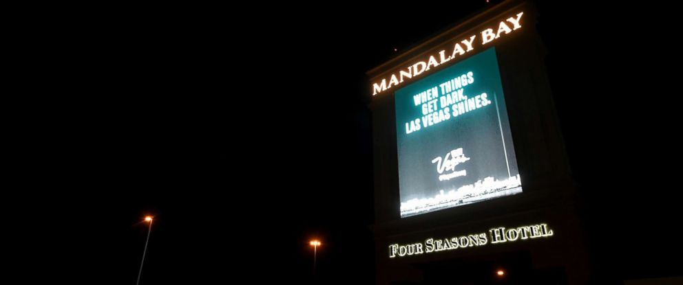 PHOTO: A marquee at Mandalay Bay Resort and Casino displays a message in tribute to the victims of last Sunday nights mass shooting, Oct. 8, 2017, in Las Vegas.