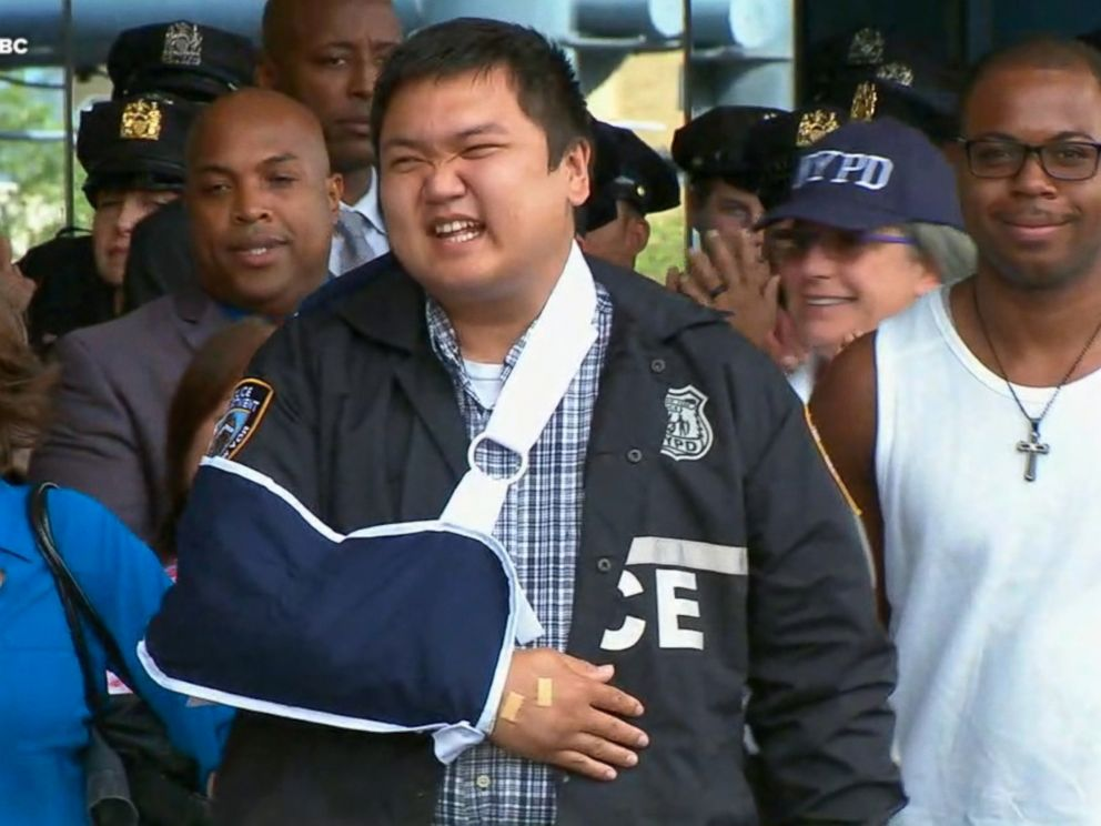 WABCOfficer Hart Nguyen smiles as he leaves the hospital Aug. 11 2017