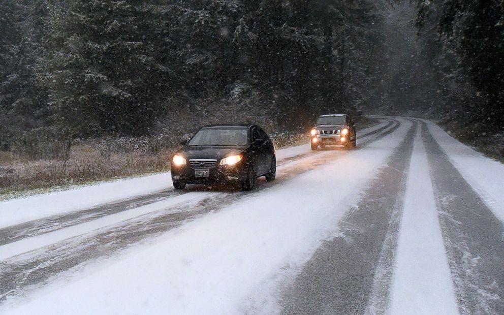 PHOTO: Motorists drive near Yelm, Wash., Dec. 24, 2017.