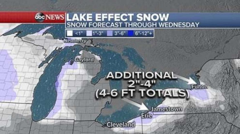 PHOTO: This weather map shows snow forecast through Wednesday.