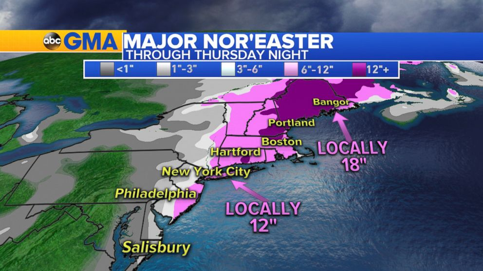 PHOTO: Weather map showing snow fall forecast for Thursday on the east coast of the U.S., Jan. 4, 2018.
