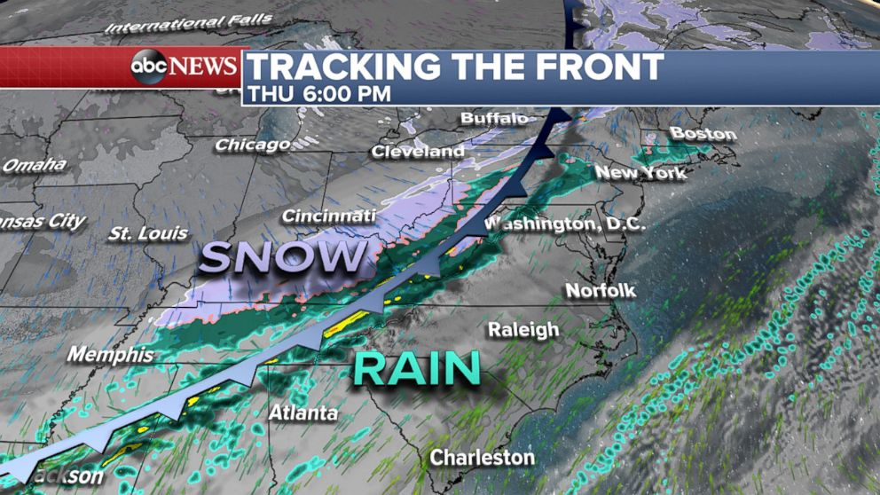 ABC News On Thursday a cold front is expected to move east with rain snow and cold temperatures behind