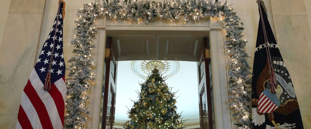 """PHOTO: The official White House Christmas tree stands in the Blue Room at the White House during a press preview of the 2017 holiday decorations, Nov. 27, 2017. The theme of the White House holiday decorations this year is """"Time-Honored Traditions."""""""