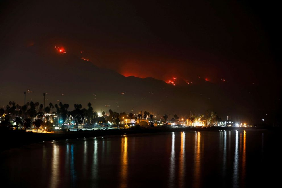 PHOTO: Santa Barbara harbor stands as wildfire burns along the coast during the Thomas Fire in Santa Barbara, Calif., Dec. 12, 2017.