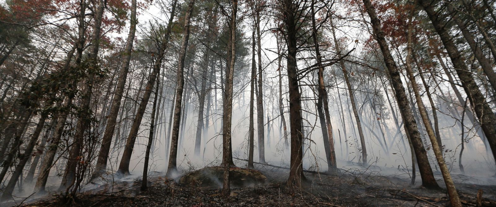 PHOTO: A wildfire smolders after burning a hillside, Nov. 15, 2016, in Clayton, Georgia.