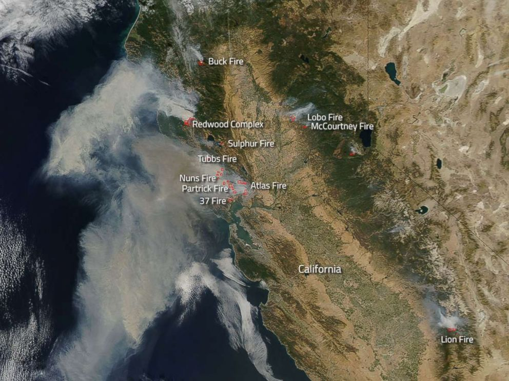 PHOTO: Northern California wildfires burning as seen from space, Oct. 9, 2017. by NASA satellites.