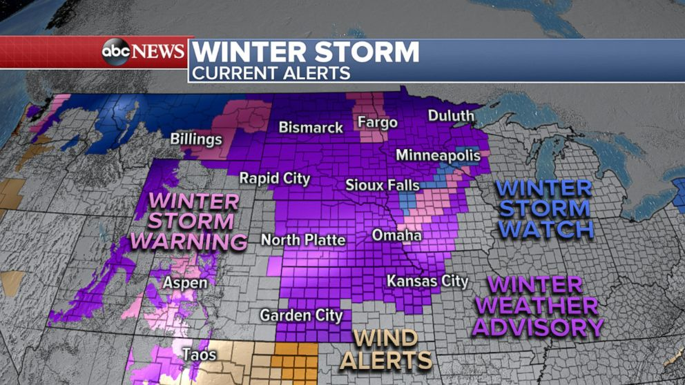 PHOTO: An ABC News weather map shows winter weather alerts from New Mexico up to Wisconsin related to this winter storm.