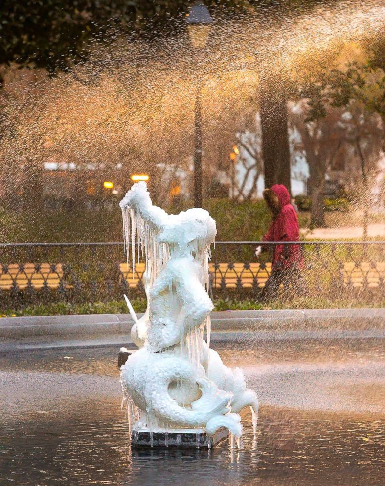 PHOTO: Icicles form on the tritons in the Forsyth Park Fountain on Jan. 2, 2018, in Savannah, Ga.