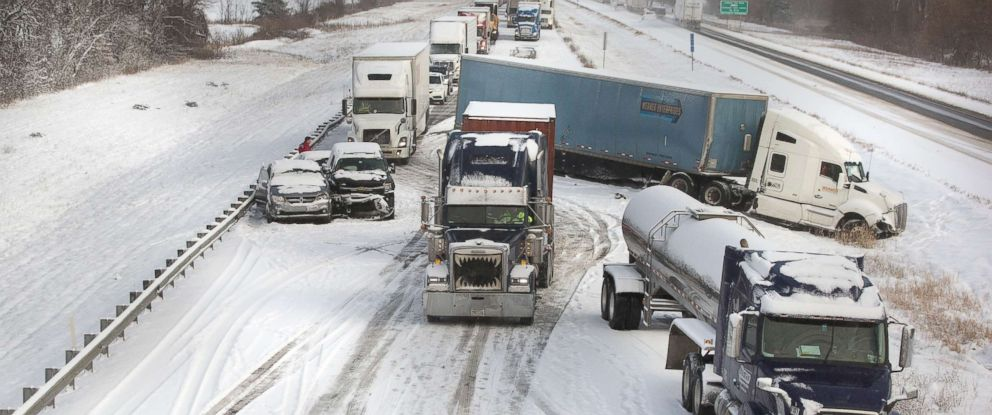 PHOTO: Two tractor trailers collided in snowy conditions, Dec. 12, 2017, in Granger, Ind.