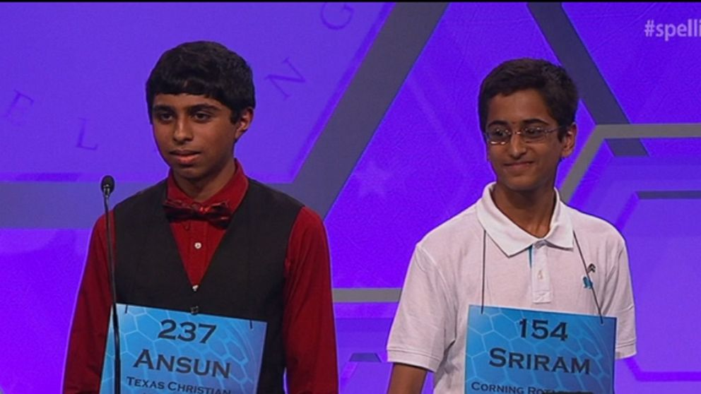 VIDEO: Ansun Sujoe and Sriram Hathwar are the first co-winners of the Scripps National Spelling Bee since 1962.