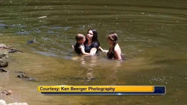 VIDEO: Bride-to-be jumped into action after she noticed a young boy struggling to keep his head above water.