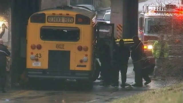 VIDEO: Bus driver and student were killed when the bus crashed into a railroad bridge.
