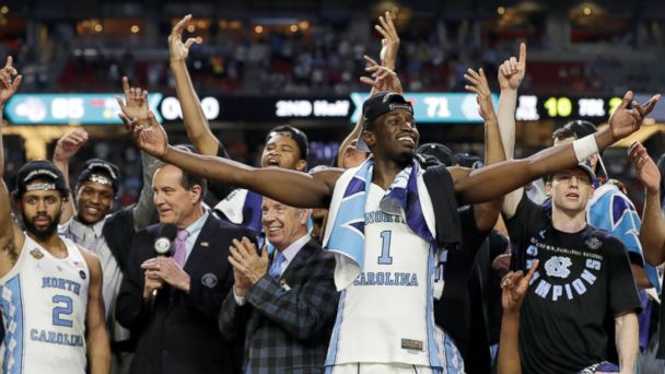 PHOTO: North Carolina's Theo Pinson (1) and the rest of the team celebrate after the finals of the Final Four NCAA college basketball tournament against Gonzaga, April 3, 2017, in Glendale, Ariz. North Carolina won 71-65.
