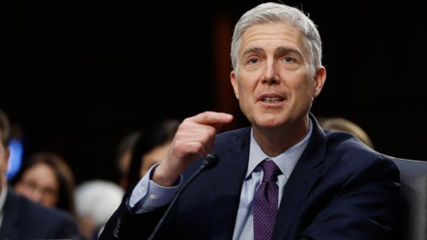 PHOTO: Supreme Court Justice nominee Neil Gorsuch testifies on Capitol Hill in Washington, on March 21, 2017, at his confirmation hearing before the Senate Judiciary Committee.