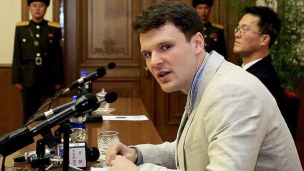 PHOTO: American student, Otto Warmbier, speaks to reporters in Pyongyang, North Korea, Feb. 29, 2016.