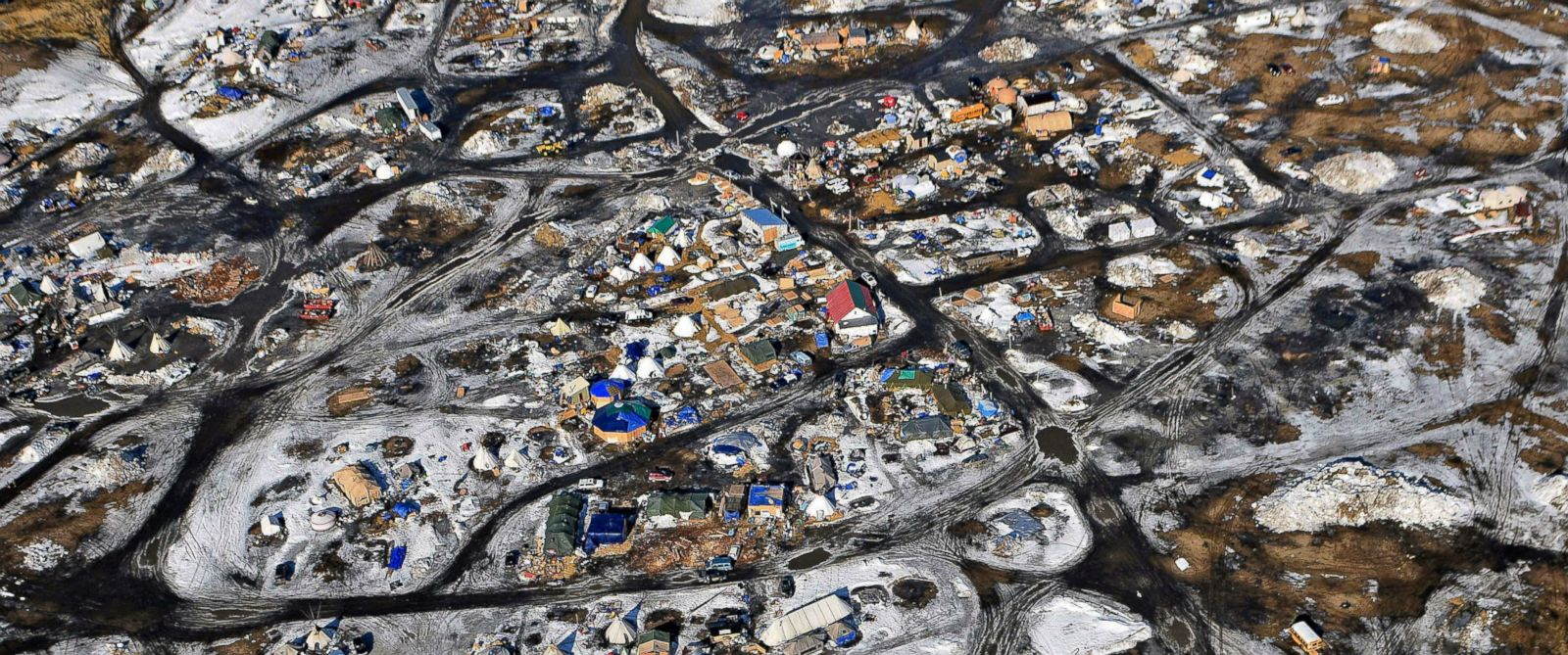 PHOTO: This aerial photo shows the Oceti Sakowin camp, where people have gathered to protest the Dakota Access pipeline on federal land, Feb. 13, 2017, in Cannon Ball, North Dakota.