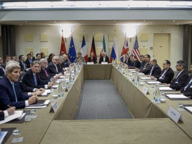 PHOTO: Officials from Britain, China, France, Germany, Russia and the United States wait for the start of a meeting on Irans nuclear program at the Beau Rivage Palace Hotel in Lausanne, Switzerland, March 31, 2015.