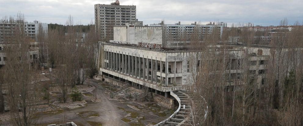 PHOTO: This photo taken March 23, 2016 shows an abandoned apartment buildings in the town of Pripyat near Chernobyl, Ukraine.
