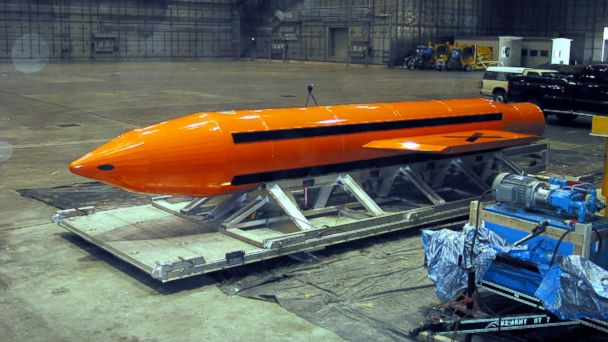 PHOTO: A Massive Ordnance Air Blast (MOAB) weapon is prepared for testing at the Eglin Air Force Armament Center, March 11, 2003.