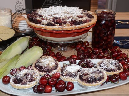 Seen here is Elizabeth Karmel's Double Cherry Pie With Streusel Topping, featured on Good Morning America.