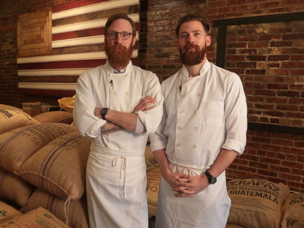 PHOTO: Rick and Michael Mast at their Brooklyn, NY chocolate factory, Mast Brothers Chocolate.