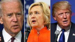 PHOTO: Joe Biden, Hillary Clinton and Donald Trump.