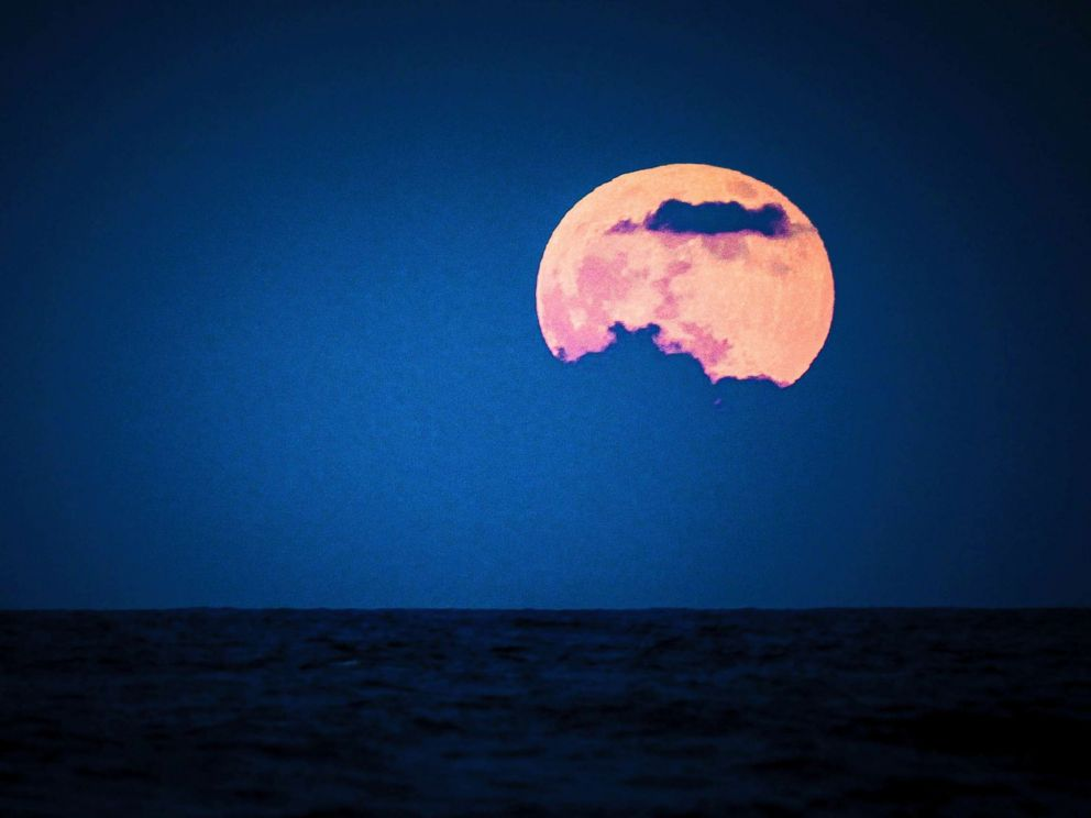 PHOTO: The full moon is seen over Punta Cana, Sept. 16, 2016 in Dominican Republic, Punta Cana.