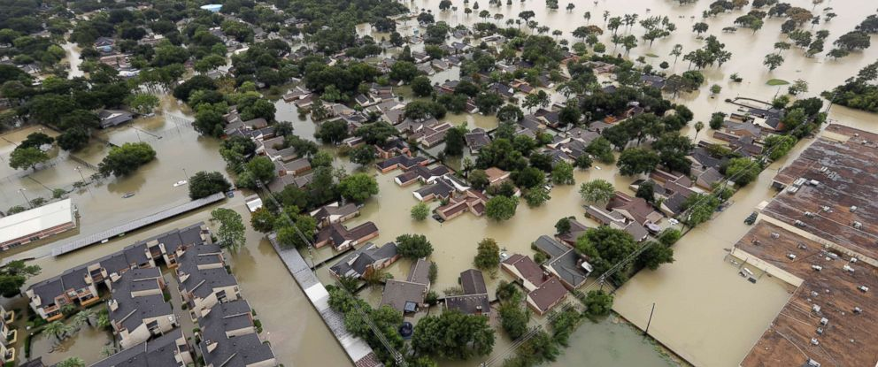 PHOTO: In this aerial photo, a neighborhood near Addicks Reservoir are flooded by rain from Tropical Storm Harvey Tuesday, Aug. 29, 2017, in Houston.