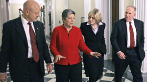 PHOTO Diane Sawyer, second from right, interviews Director of National Intelligence James Clapper, left, U.S. Secretary of Homeland Security Janet Napolitano, and John Brennan of the National Security Council in Washington