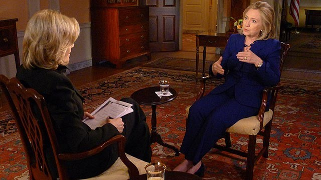 PHOTO: Hilary Clinton being interviewed by Diane Sawyer.
