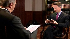 Photo: ABC News Charles Gibson interviews Treasury Secretary Timothy Geithner on World News.